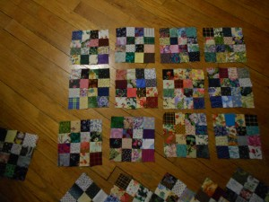 "2"" scrap squares used to make 16 patch blocks"